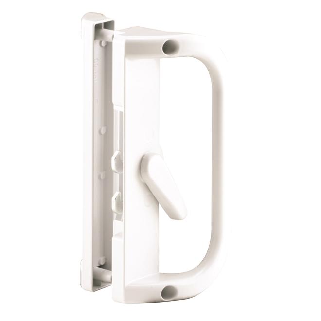 Poignée de porte-fenêtre coulissante Prime-Line, blanc, loquet en acier, quincaillerie incluse