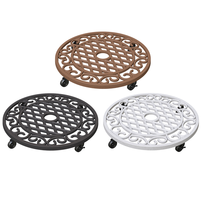 "4-Caster Plant Stand - 17"" x 17"" x 3"" - Iron - Assorted"