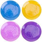 Bain d'oiseau sur poteau en verre, 4 couleurs assorties