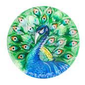 Bain d'oiseau sur poteau, verre, 16'', motif de paon