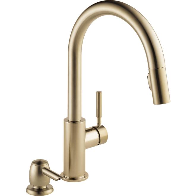 Delta Trask Single Handle Pull-Down Champagne Bronze Kitchen Faucet with Soap Dispenser