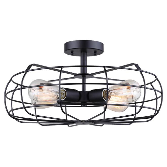 Semi-plafonnier à 4 lumières, Anaelle, noir