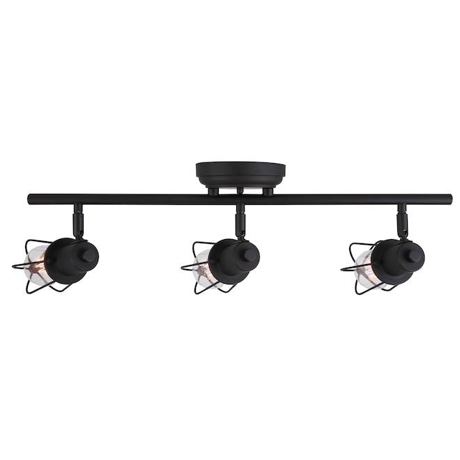Éclairage sur rail Bastian de Canarm, 3 têtes pivotantes, bronze huilé, 3 ampoules E26 à culot moyen A19