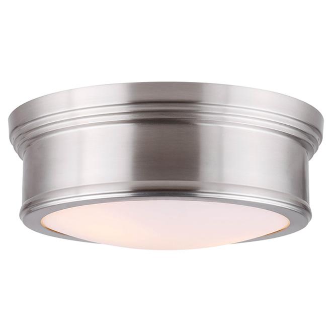 Plafonnier pour chambre Coralie de Canarm, 2 ampoules 60 W, fini nickel et abat-jour en verre opalin, rond
