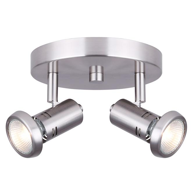 Ceiling Fixture - 2 Lights - GU10 - 50 W - Brushed Nickel