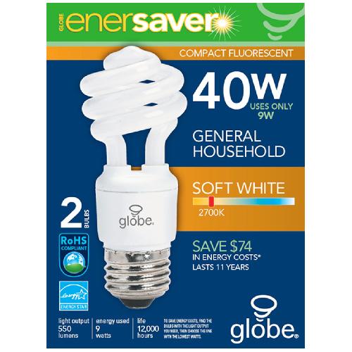"""Ultra Mini"" Compact Fluorescent Bulb - 9 W - Soft White - 2/Pk"