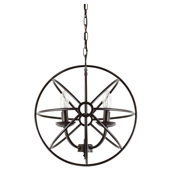 "Globe 4-Light Sphere Chandelier - 15"" - Dark Bronze"