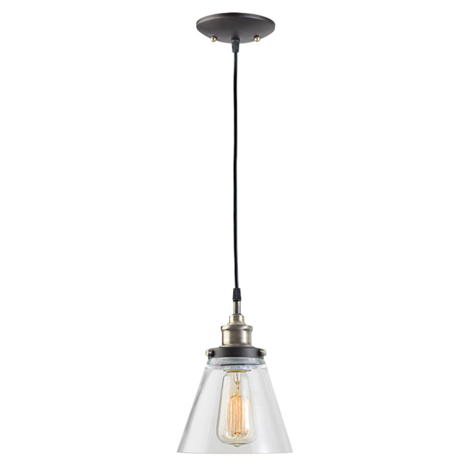 Jackson 1-Light Pendant - Metal/Glass - Antique Brass