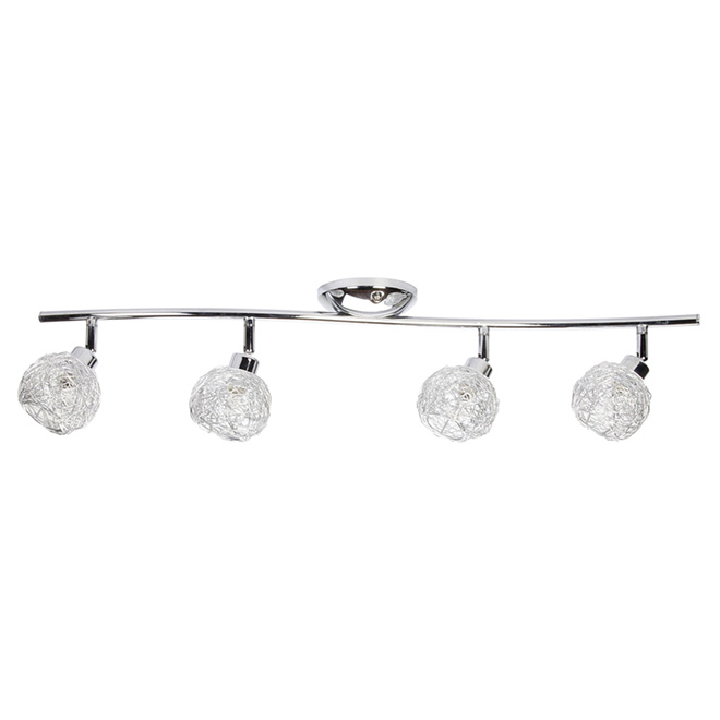 "Chrome And Black Track Lighting: GLOBE 4-Light Track Light 28.74"" - Chrome 58846"