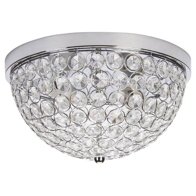 Flush mount light with crystal shade insert 12 6