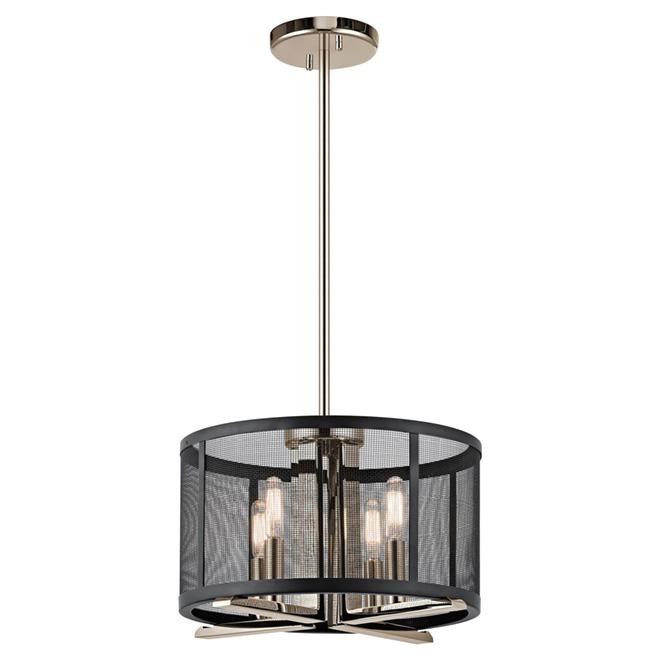 image vintage drum pendant lighting. Pendant Light - 4 Lights Chrome/Matte Black Image Vintage Drum Lighting M