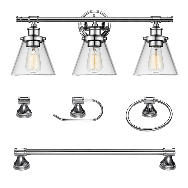 Bathroom Set with Wall Sconce - 5 Pieces - Chrome