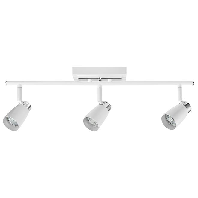Rail d'éclairage contemporain à 3 lumières, blanc et chrome