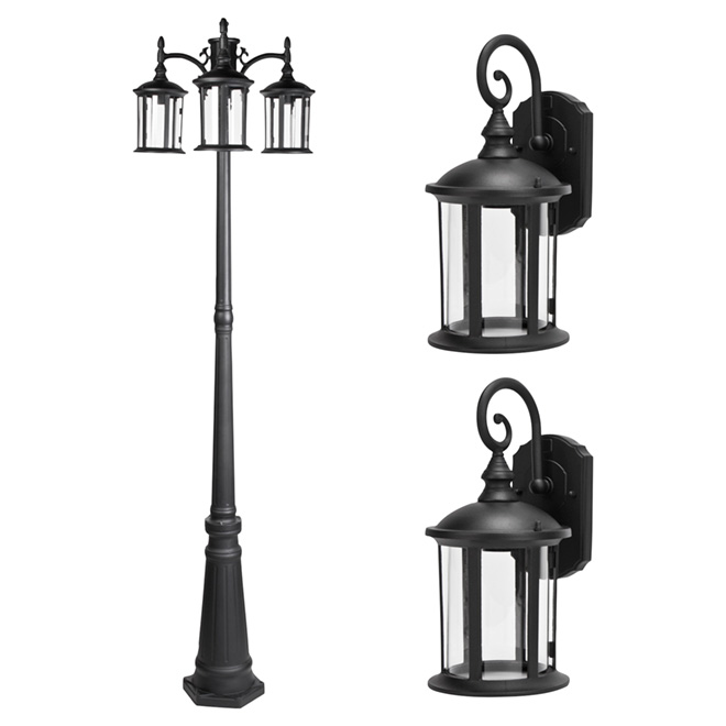 Outdoor post and lanterns set 3 pieces