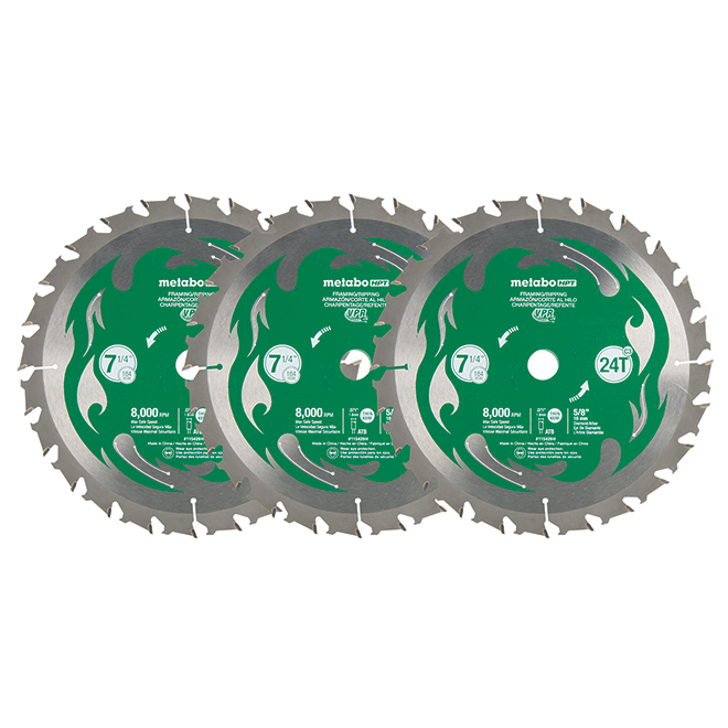 Steel Circular Saw Blade - 7 1/4'' - 24 Teeth - 3/Pack