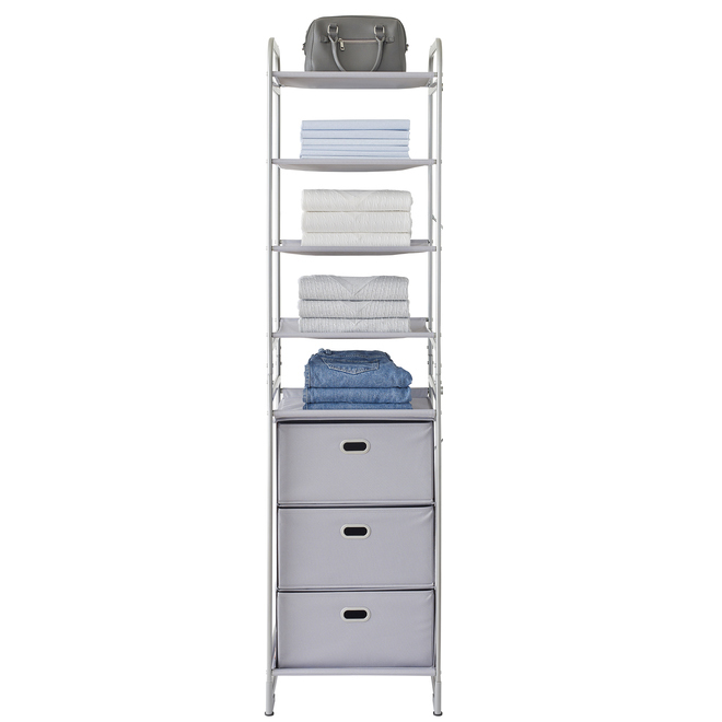 Neatfreak Modular Closet Organizer with 4 Shelves and 3 Drawers - 16-in x 18-in x 70.5-in - Grey