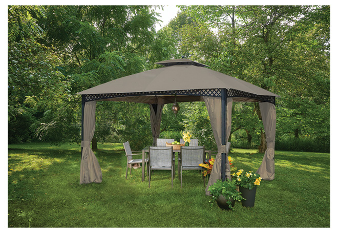 Uberhaus Sun Shelter with Dome - Steel and Polyester - 10-ft x 12-ft - Dark Brown