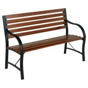 Style Selections Outdoor Park Bench - Steel and Wood - 48-in - Brown and Black