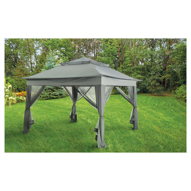 Uberhaus Pop-Up Sun Shelter - 10' x 10' x 9' -  Steel/Fabric - Black/Grey