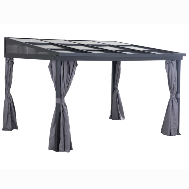 Uberhaus Sun Shelter with Curtains -  10-ft x 12-ft x 8-ft - Grey and Black