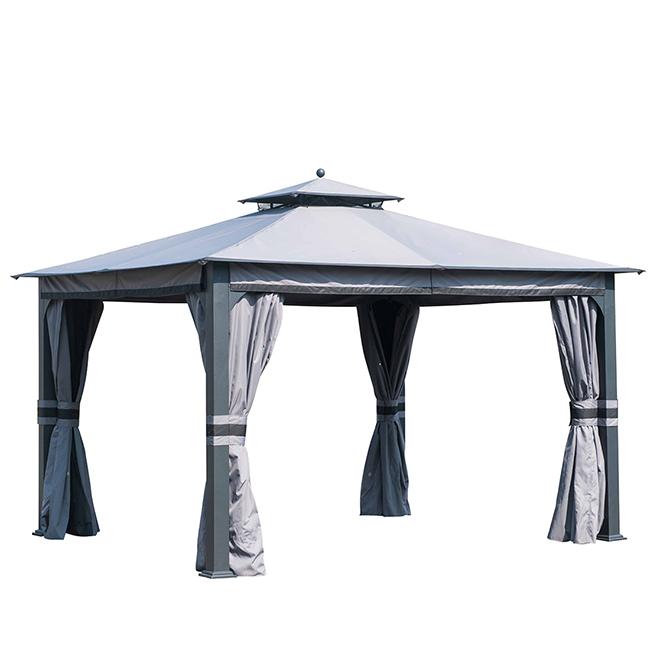 Barney Soft Top Gazebo- 10' x 12' - Steel/Fabric- Black/Grey