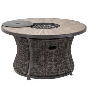 Allen + Roth Ellisview Fire Table - 48.3-in x 26.8-in - Steel - Brown