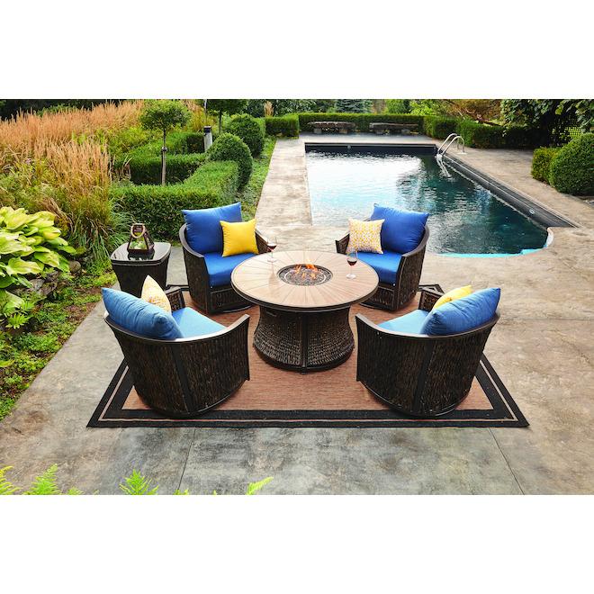 Allen + Roth Ellisview Fire Table - 48.3-in x 26.8-in - Steel - Brown