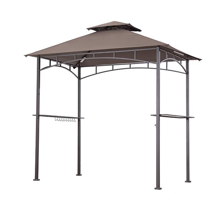 Sunjoy BBQ Gazebo - Steel/Fabric - 8' x 8.4' x 5' - Brown
