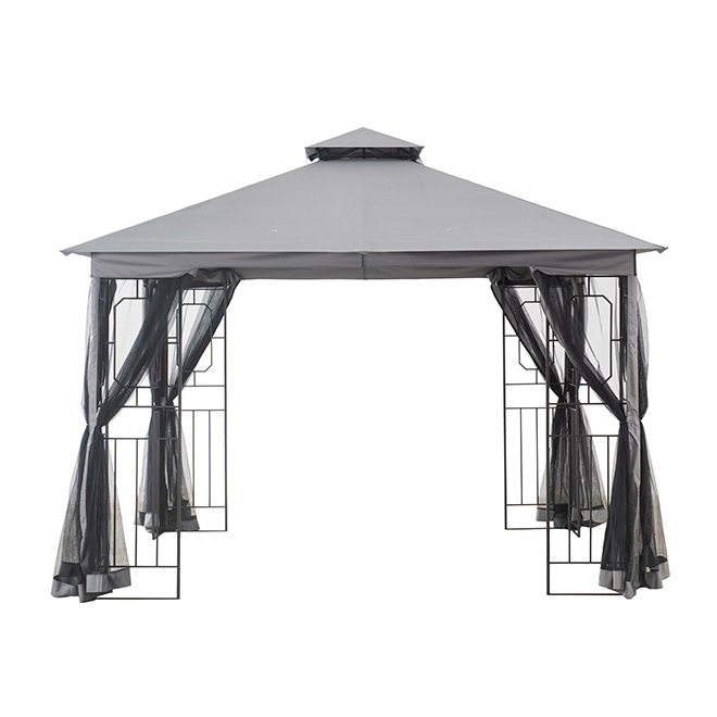 Style Selections Gazebo with Netting - 10-ft x 10-ft - Black and Grey