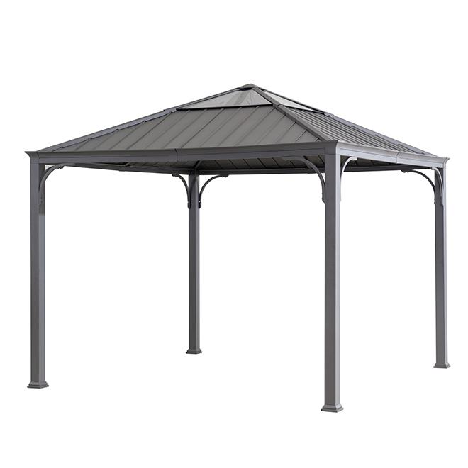 Abri-soleil à toit rigide, 10', acier/aluminium, noir/gris