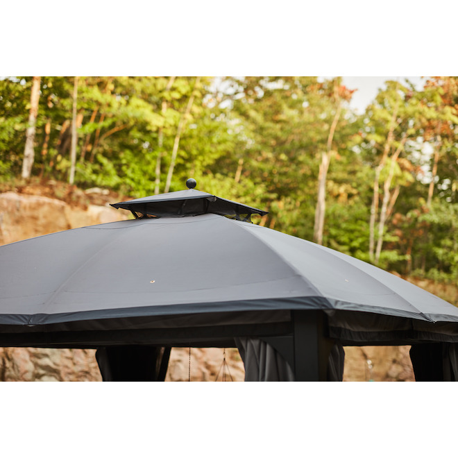 Allen + Roth Gazebo with Dome-Shaped Roof - 10-ft x 12-ft - Black/Grey