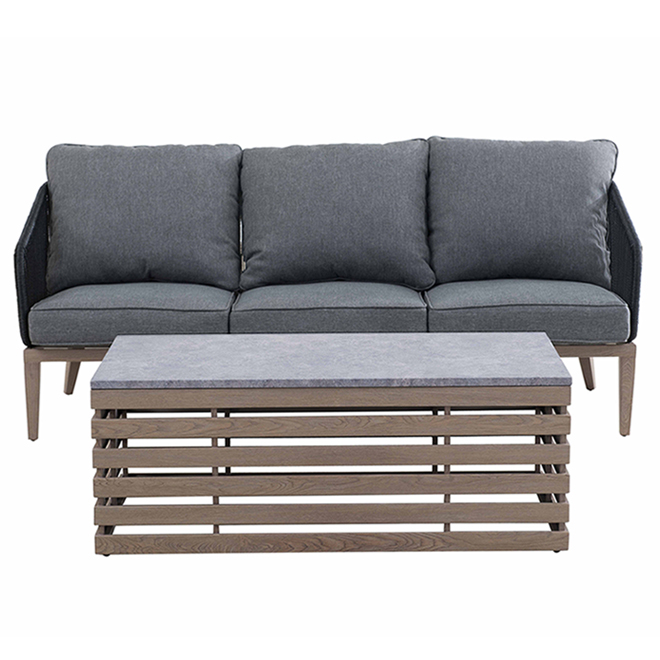 Allen + Roth Marina Patio Set with Sofa and Coffee Table - Grey - 2 Pieces