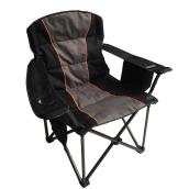Uberhaus Camping Chair with Cooler Bag - Black and Grey