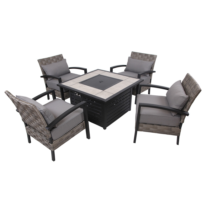 Patio Fire Pit Conversation Set - Grey/Black - 4 Places