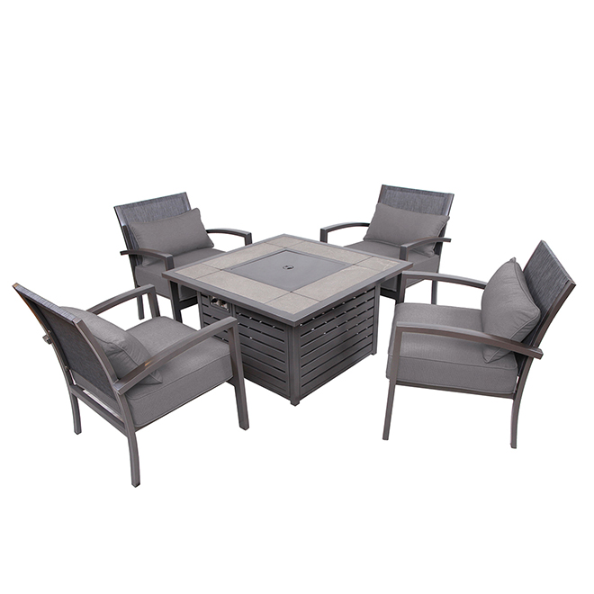 Patio Fire Pit Set   Manhattan   Grey   4 Places
