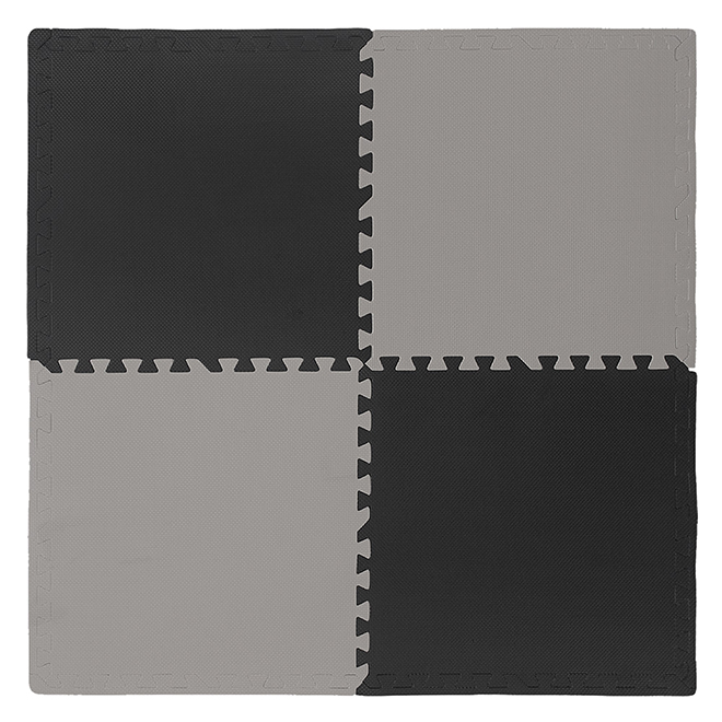 Connect-A-Mat Anti-fatigue Interlocking Mat - Portable - Grey and Black - 24-in L x 24-in W