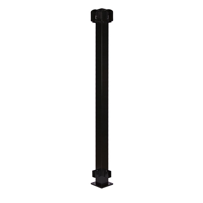 "Aluminum Fence Corner Post - 42"" - Black"