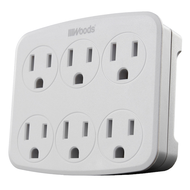 Woods - Wall Outlet - 6 outlets - Plastic - 120 V - White