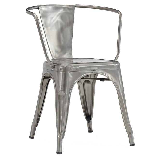 Chaises à dîner avec bras, Collection Originale Chaise Tolex, argent poli lustré, ensemble de 2