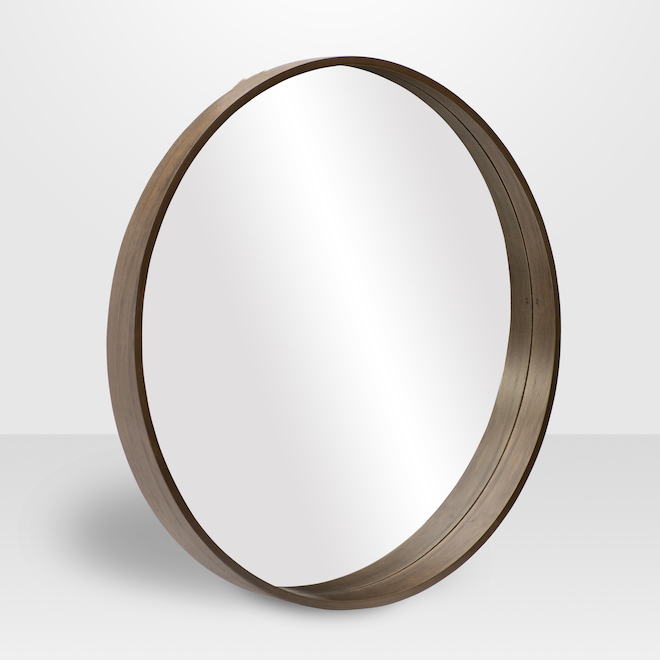 Vanilla Moulding - Avalon Round Mirror - 24-in x 24-in x 2.85-in - Walnut