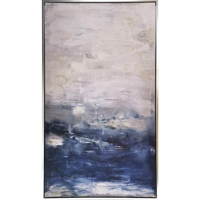 Toile tendue montée sur cadre, Oceania, art mural abstrait, 25 po x 43 po, bleu et blanc