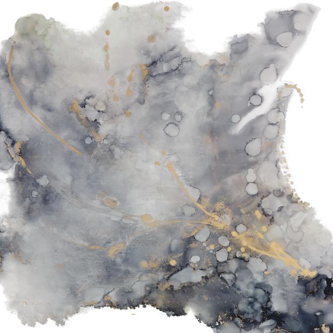 Toile tendue, Unplugged, art mural abstrait, 31 po x 31 po, gris