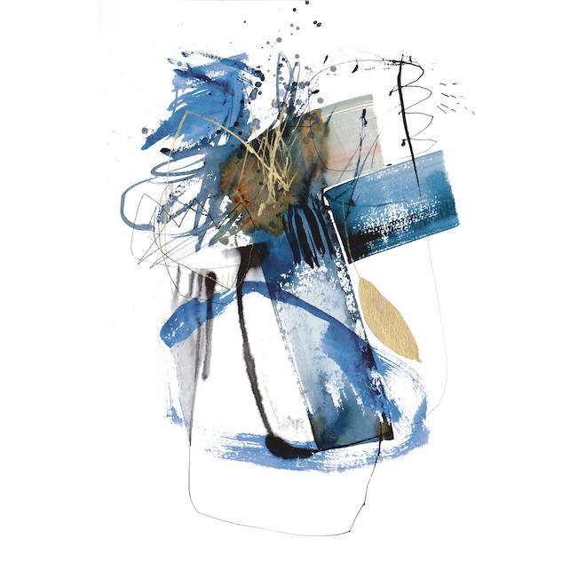 Toile tendue Blue Buzz, toile tendue, art mural abstrait, 25 po x 37 po bleu