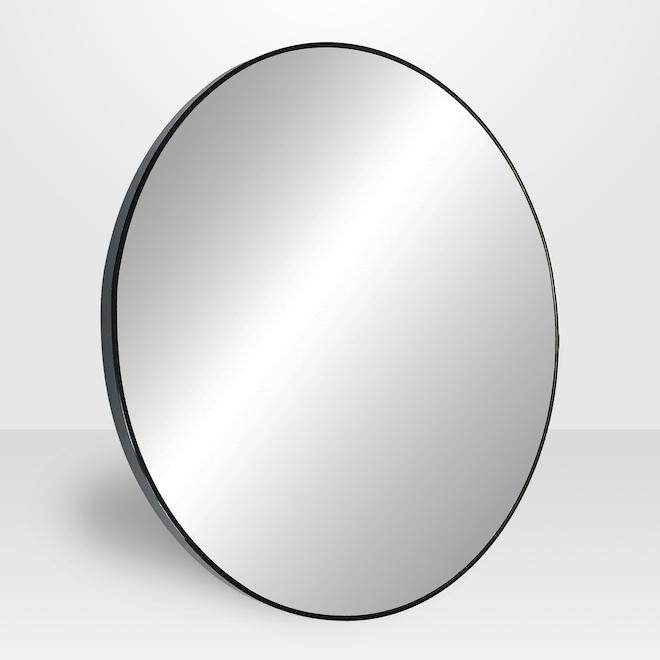 Avalon 32-in Round Black Metal Mirror