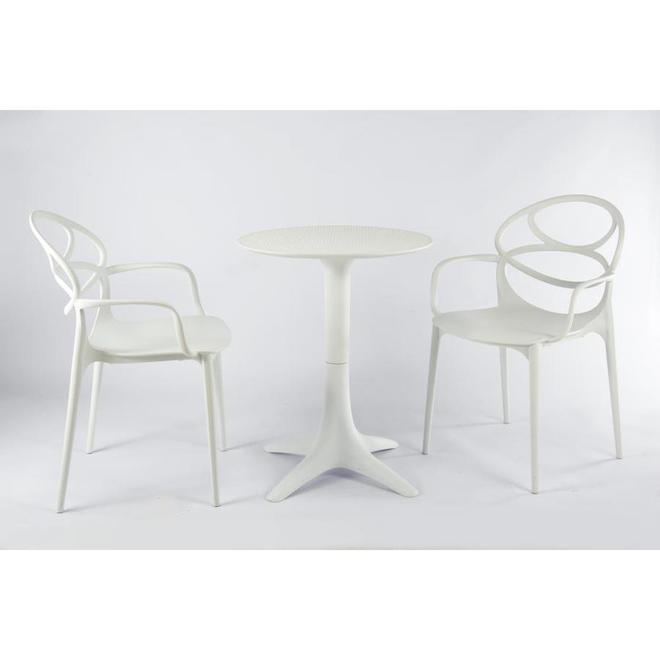 Hudson Home 2-Set White Open-Back Dining Chairs with Side Arms