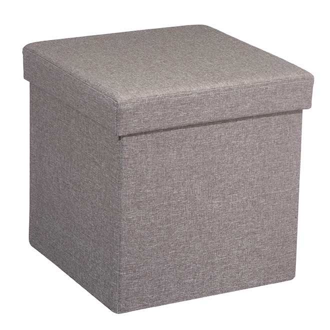 FHE Foldable Storage Ottoman in Linen - Grey