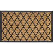 "Entrance Mat - 18"" x 30"" - Rubber - Black and Beige"