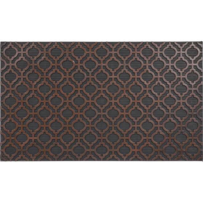 """FHE Moroccan Entrance Mat - 18"""" x 30"""" - Rubber - Brown and Black"""