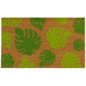 "FHE Entrance Mat - Green Leaves - 18"" x 30"" - Natural"