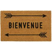 "FHE Entrance Mat with Bienvenue Print - 18"" x 30"" - Natural"